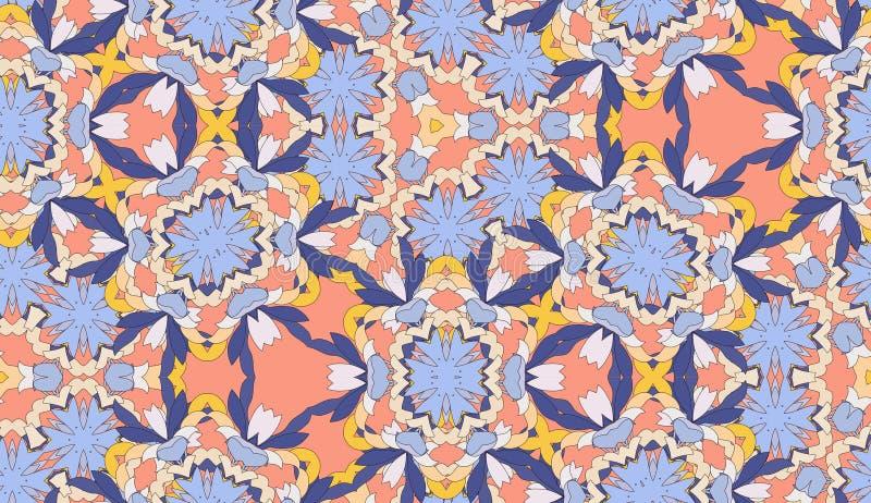 De wijnoogst kleurde bloemen decoratief stock illustratie