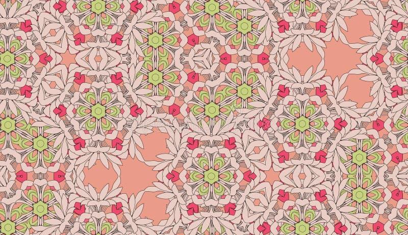 De wijnoogst kleurde bloemen decoratief royalty-vrije illustratie