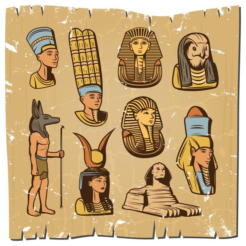 De wijnoogst kleurde Oude Egyptische Elementeninzameling royalty-vrije illustratie