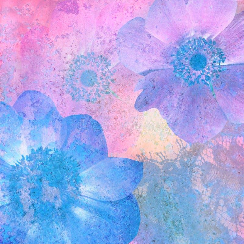 De wijnoogst stileerde bloemenfantasie stock afbeeldingen