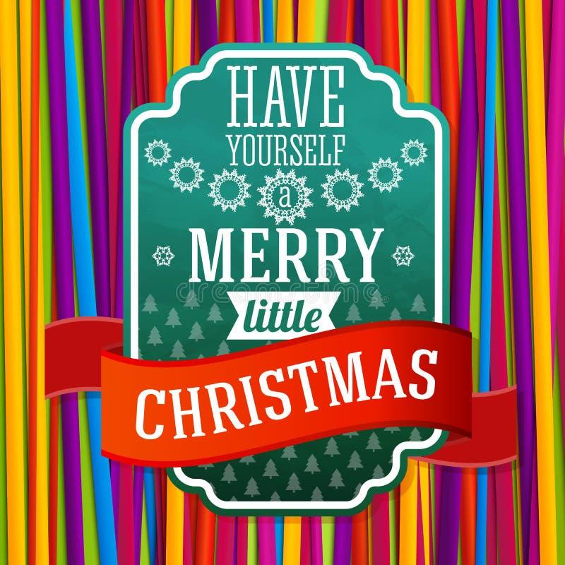 De wijnoogst stileerde groen Vrolijk Kerstmisetiket, met stock illustratie