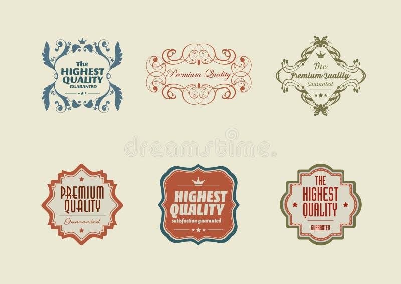 De wijnoogst stileerde retro stickers met ornamenten vector illustratie