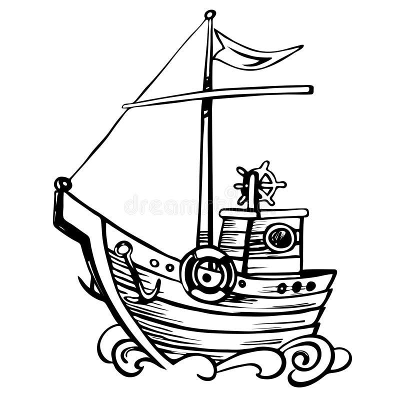 De wijnoogst stileert houten schets varende boot vector illustratie