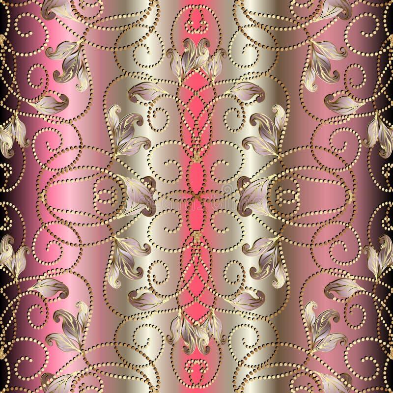 De wijnoogst stippelde 3d vector naadloos patroon Geweven gradiënt arabesque achtergrond Het goud schittert Schitterende tracery  stock illustratie