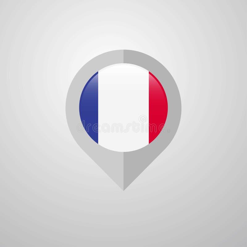 De wijzer van de kaartnavigatie met de vector van het de vlagontwerp van Frankrijk vector illustratie