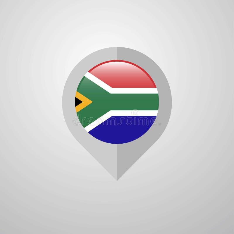 De wijzer van de kaartnavigatie met de vector van het de vlagontwerp van Zuid-Afrika stock illustratie