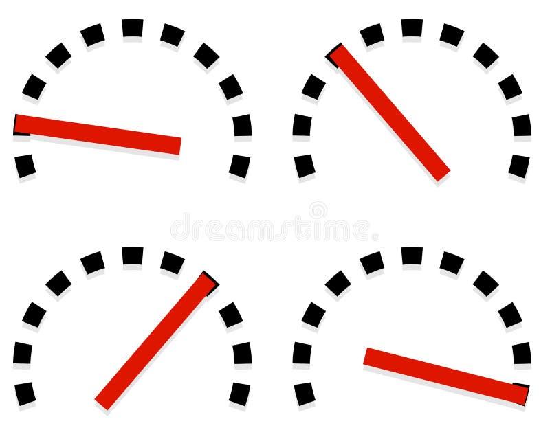 De wijzerplaat, de metermalplaatjes met rode behoefte en de eenheden plaatsen in 4 stadia, l vector illustratie