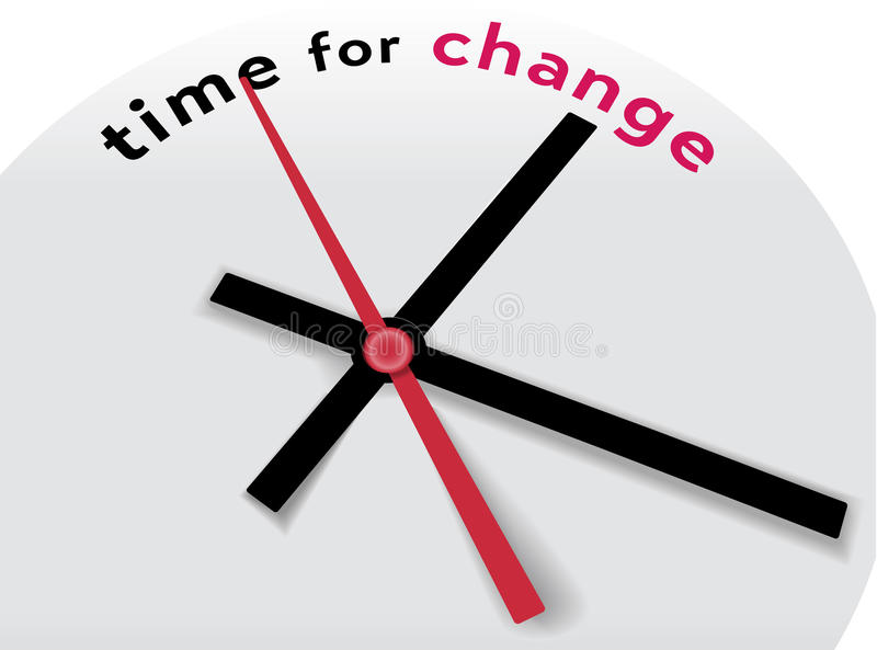 De wijzers vertellen Tijd voor een verandering stock illustratie