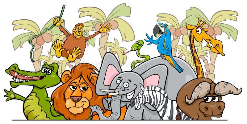 De wilde dierengroep van de beeldverhaal Afrikaanse safari royalty-vrije illustratie