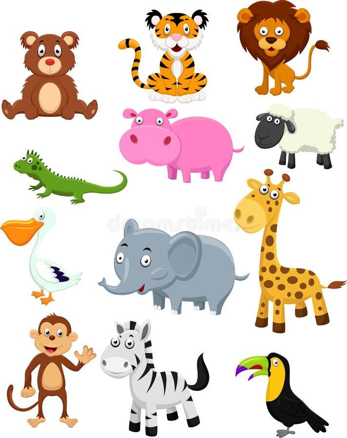 De wilde dierlijke reeks van de beeldverhaalinzameling royalty-vrije illustratie