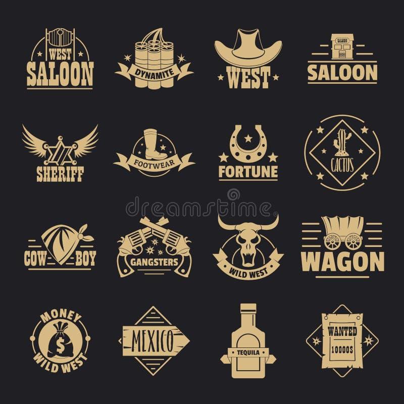 De wilde geplaatste pictogrammen van het het westenembleem, eenvoudige stijl vector illustratie