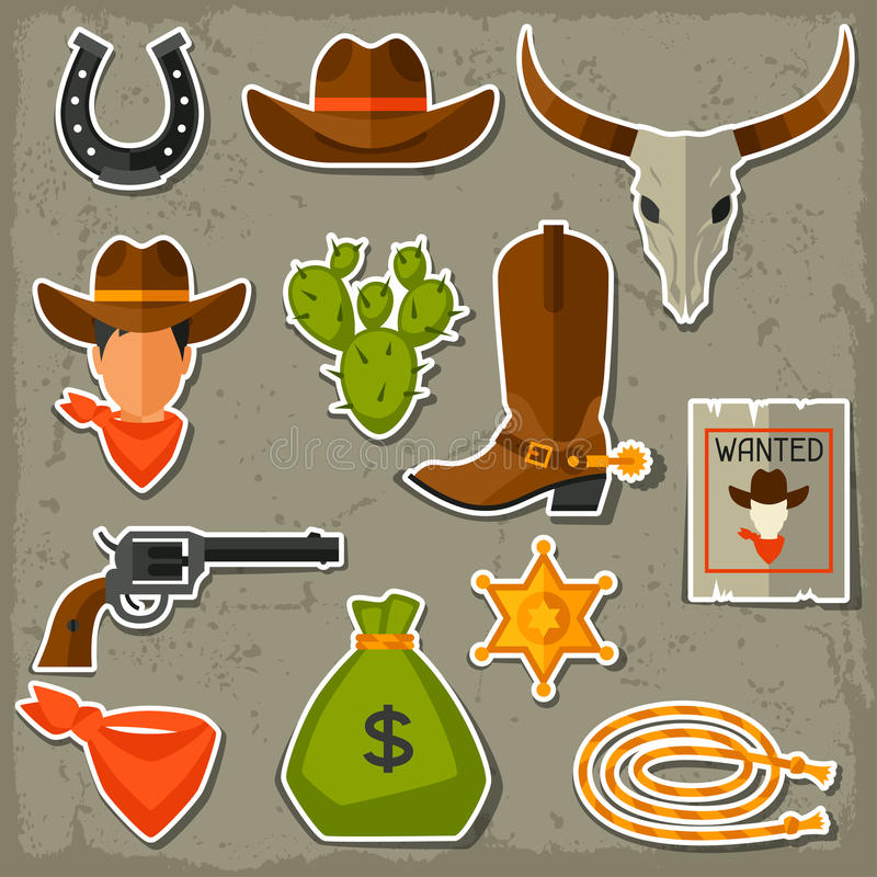 De wilde geplaatste voorwerpen en de stickers van de het westencowboy vector illustratie