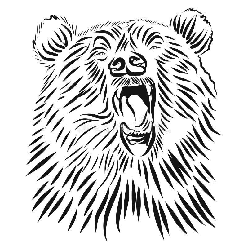 De wilde grizzly, Hand getrokken vector gebrul draagt royalty-vrije illustratie