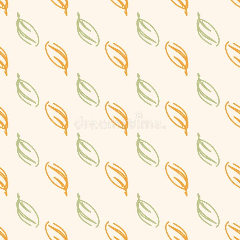 De wilde herfst of de lente verlaten naadloos patroon in groen en oranje in geometrische diagonalen stock illustratie