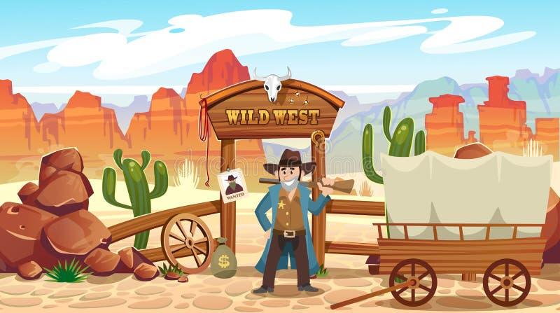 De wilde illustratie van het het westenbeeldverhaal met cowboy, schedel, wilde affiche en bergen Vector westelijke illustratie vector illustratie