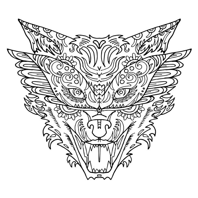 De wilde mooie wolfs hoofdhand trekt op een witte achtergrond Kleurenboek Manier in een vectorillustratie vector illustratie