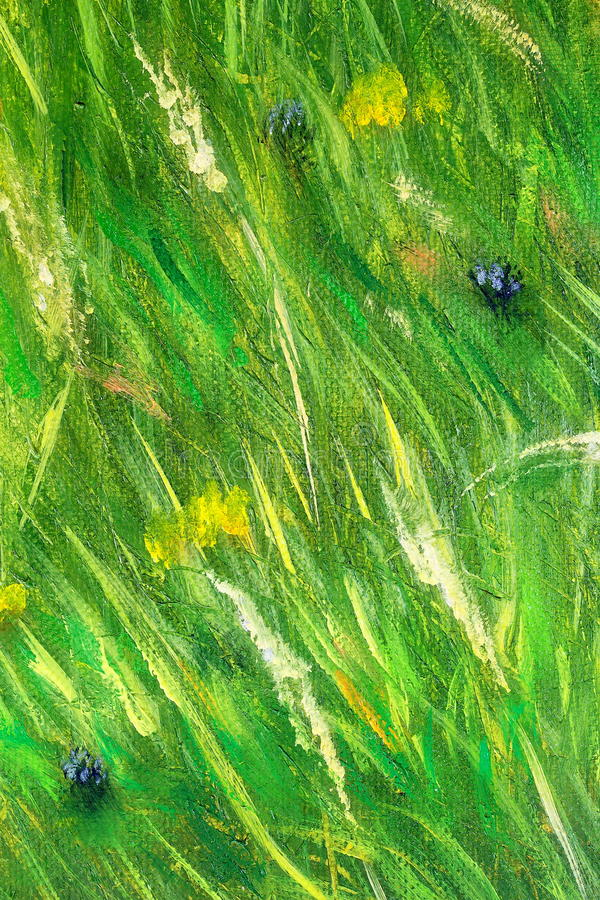 De wilde structuur van het weidegras in heldergroene tonen, het schilderen detail stock illustratie