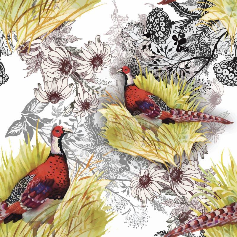 De wilde vogels van Fazantdieren in waterverf bloemen naadloos patroon stock illustratie