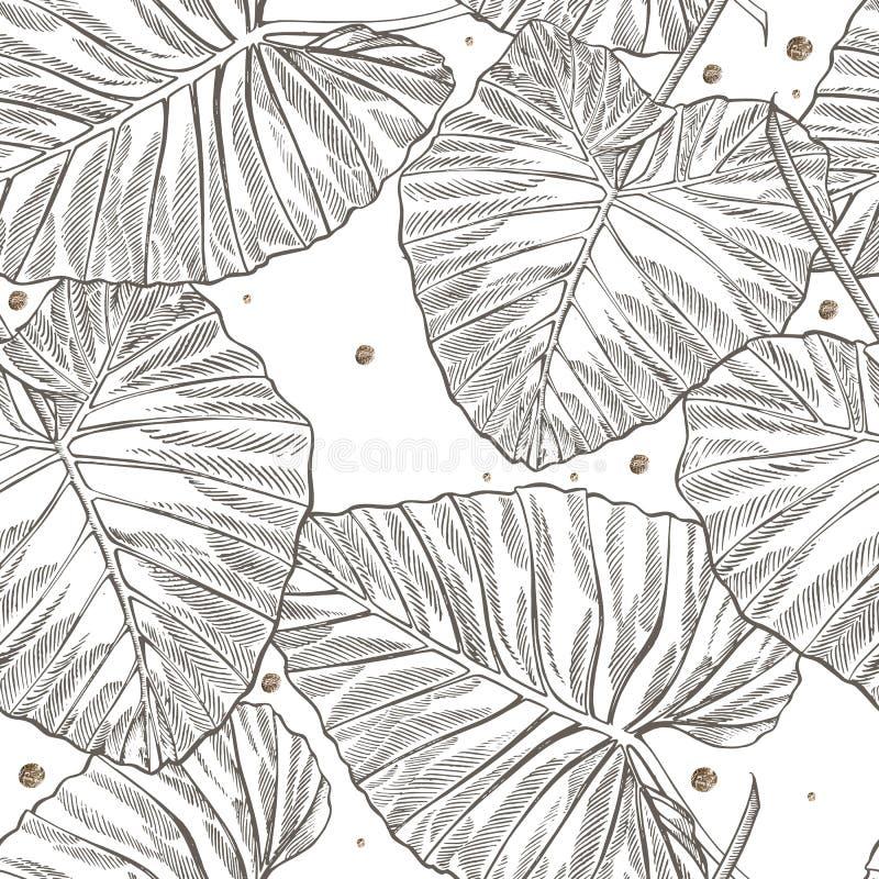 De wildernis verlaat naadloze bloemenpatroonachtergrond Tropische palmbladenachtergrond Grafische illustratie in in stijl vector illustratie