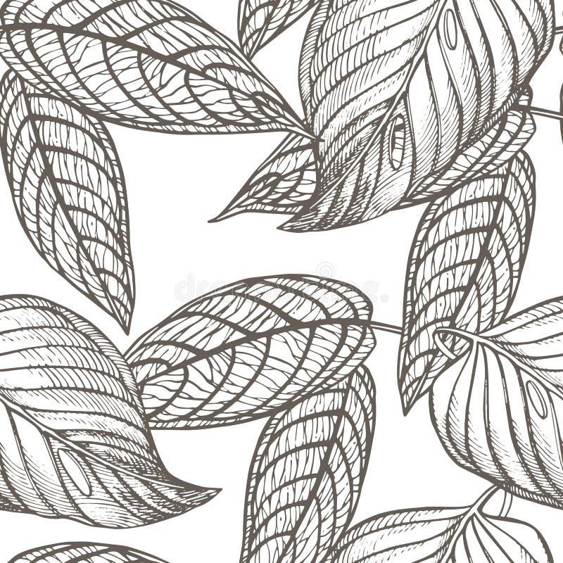 De wildernis verlaat naadloze bloemenpatroonachtergrond Tropische palmbladenachtergrond Grafische illustratie in in stijl royalty-vrije illustratie