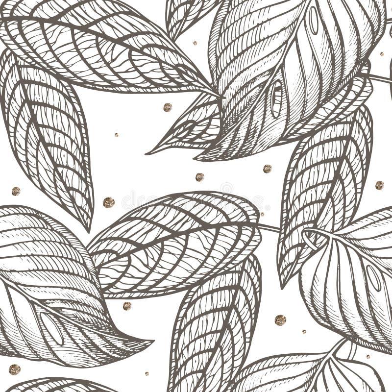 De wildernis verlaat naadloze bloemenpatroonachtergrond Tropische palmbladenachtergrond Grafische illustratie in in stijl stock illustratie