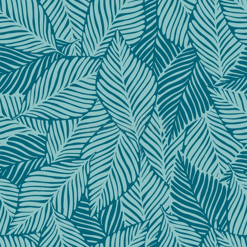 De wildernisdruk van de de zomeraard Exotische installatie Tropisch patroon, naadloze palmbladen vector illustratie