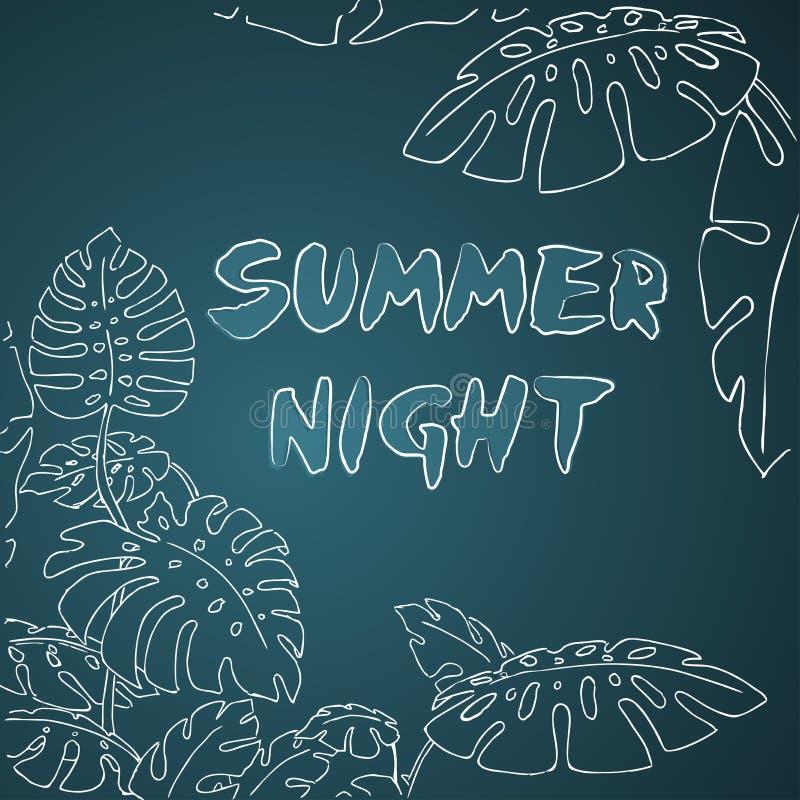 De wildernispalmbladen van de de zomernacht vector illustratie