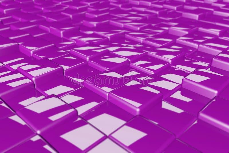 De willekeurige 3d teruggevende kleurrijke heldere achtergrondafbeelding van hoogte glanzende kubussen royalty-vrije stock afbeeldingen