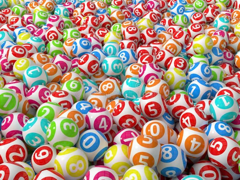 De willekeurige gekleurde stapel van loterijballen stock illustratie