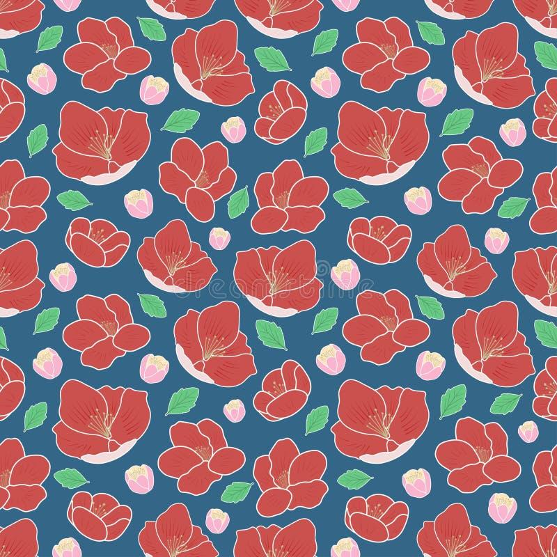 De willekeurige Helleborebloem en bladeren het motief herhalen achtergrond van het type de naadloze vectorpatroon royalty-vrije illustratie