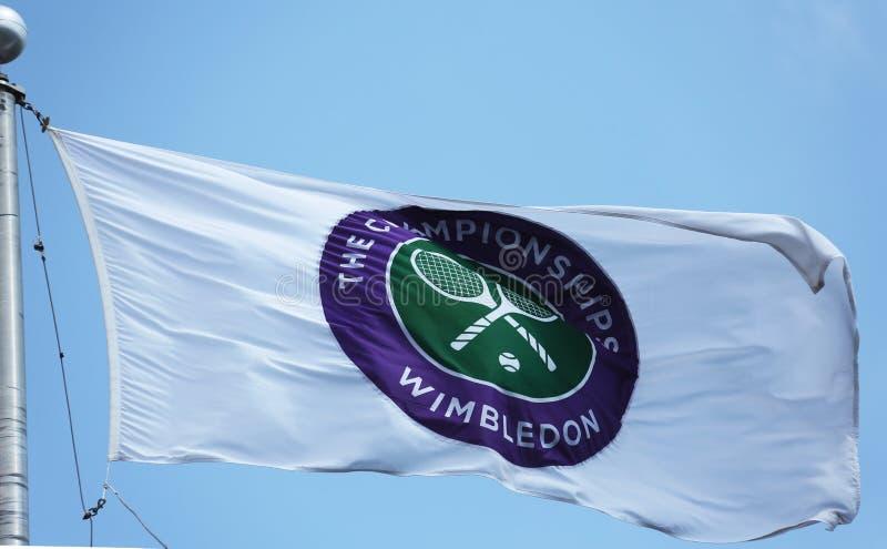 De Wimbledon-kampioenschapsvlag in Billie Jean King National Tennis Center tijdens US Open 2013 royalty-vrije stock afbeelding
