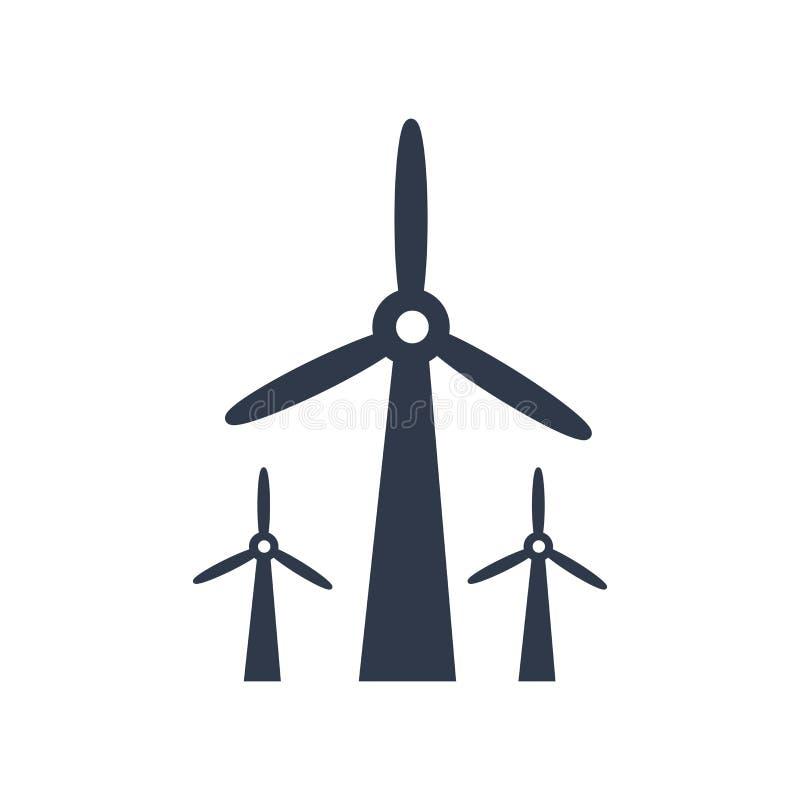 De wind maalt pictogram vectordieteken en symbool op witte backgro wordt geïsoleerd stock illustratie