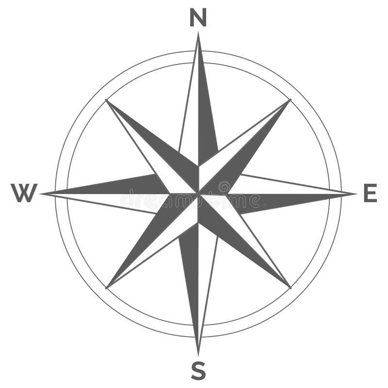 De wind nam op witte achtergrond toe Vector kompasontwerp vector illustratie