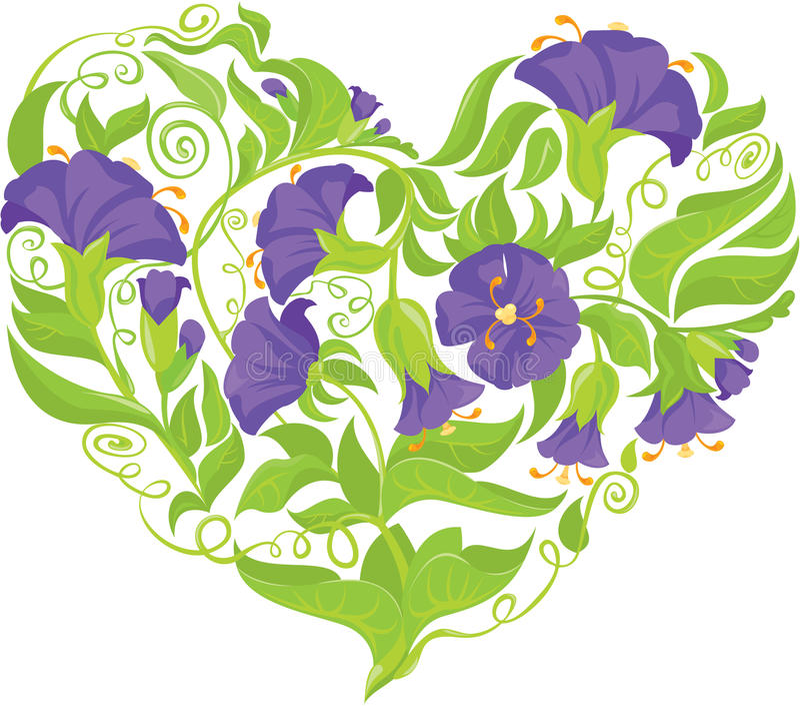 De winde bloeit hart op witte backgr wordt geïsoleerd die stock illustratie
