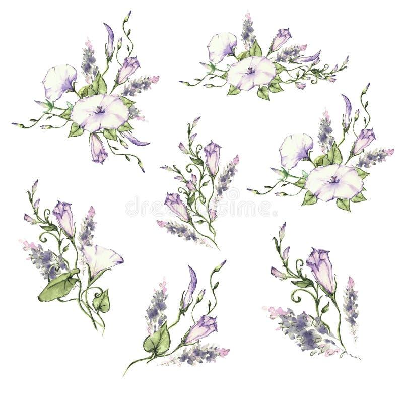 De winde en de bladeren, waterverf, kunnen als groetkaart, uitnodigingskaart voor huwelijk worden gebruikt vector illustratie