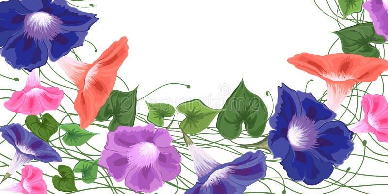 De winde van de kaartbesnoeiing bloeit boeket beklimmend golvende klokken, winde royalty-vrije illustratie