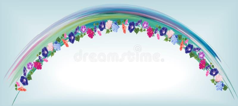 De winde van de uitnodigingsboog, de waterverf van astrabloemen royalty-vrije illustratie