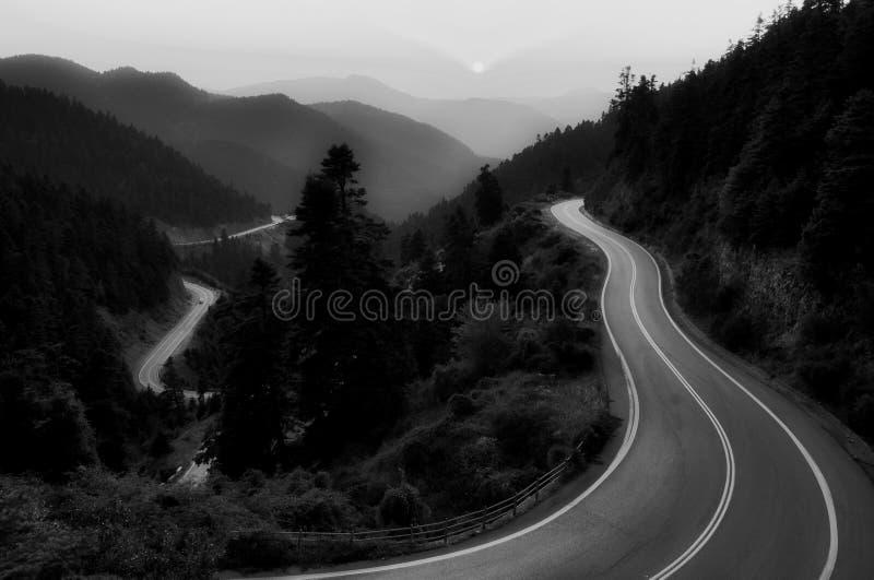 De Windende Weg van de landschapsberg in Griekenland royalty-vrije stock foto