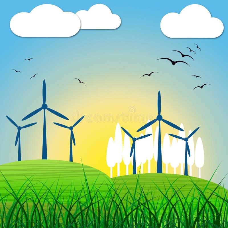 De windenergie toont Vernieuwbaar Middel en Milieu royalty-vrije illustratie