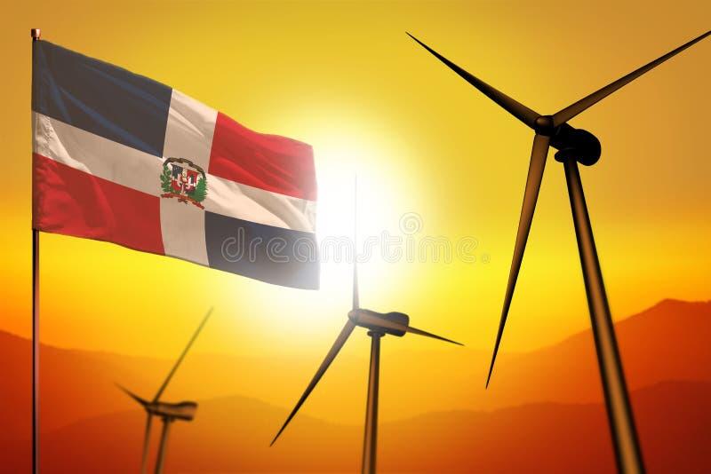 De windenergie van de Dominicaanse Republiek, het concept van het alternatieve energiemilieu met windturbines en vlag op industri vector illustratie