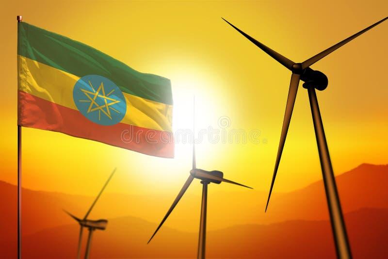 De windenergie van Ethiopië, het concept van het alternatieve energiemilieu met windturbines en vlag op zonsondergang industriële vector illustratie