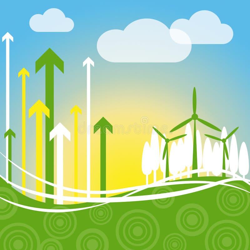 De windenergie wijst op Vernieuwbaar Middel en Milieu stock illustratie