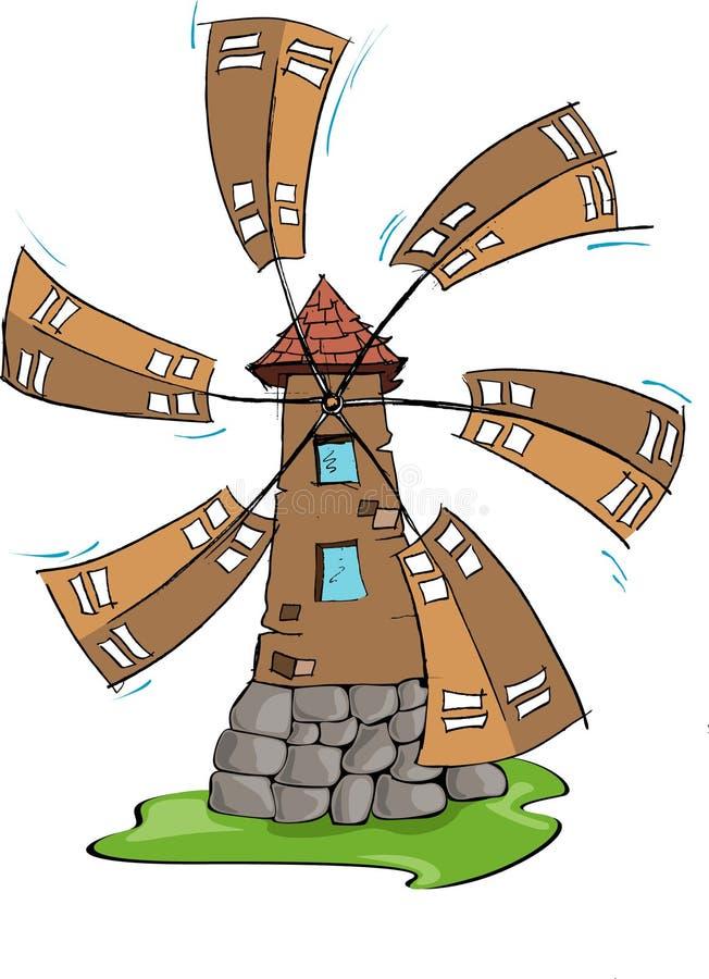 De windmolen, hand trekt royalty-vrije illustratie