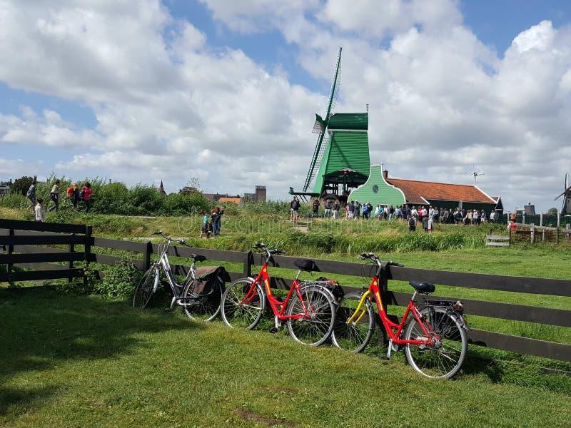 De windmolen in Holland overweldigt groen in aard stock fotografie