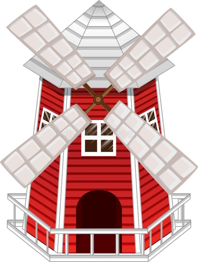 De windmolen schilderde rode en witte omheining stock illustratie