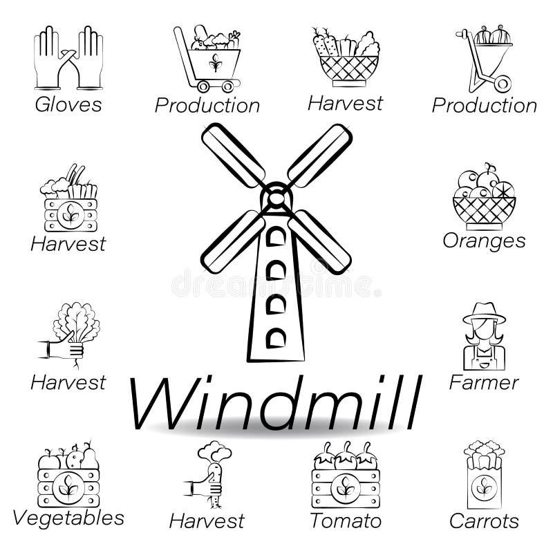 De windmolenhand trekt pictogram Element van de landbouw van illustratiepictogrammen De tekens en de symbolen kunnen voor Web, em vector illustratie