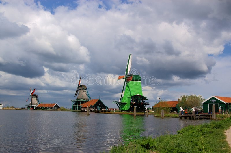 De windmolenlandschap van Holland royalty-vrije stock fotografie