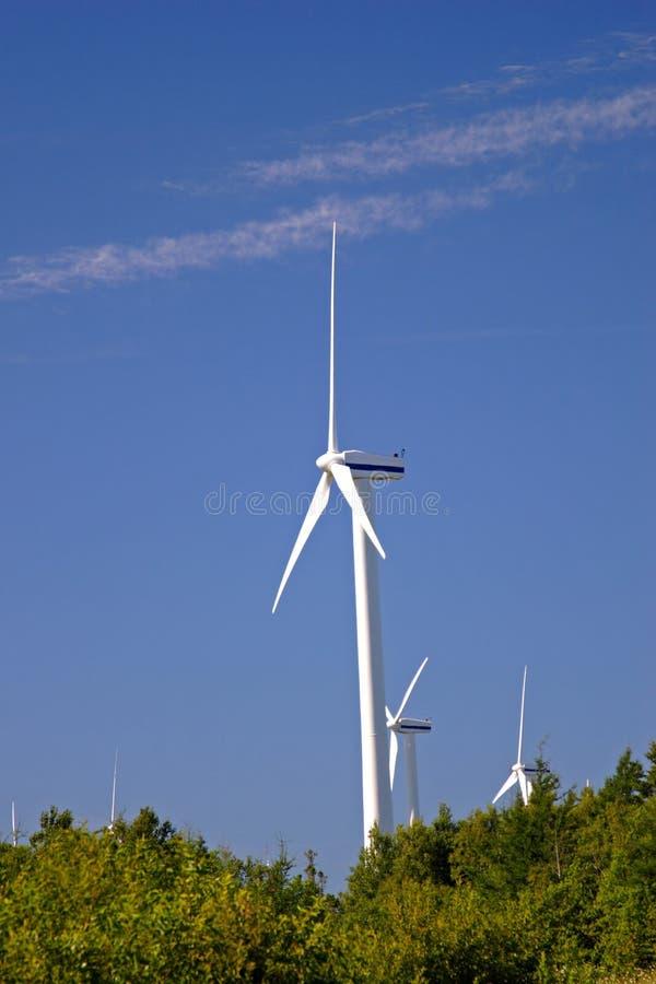 De Windmolens van het eiland stock afbeelding