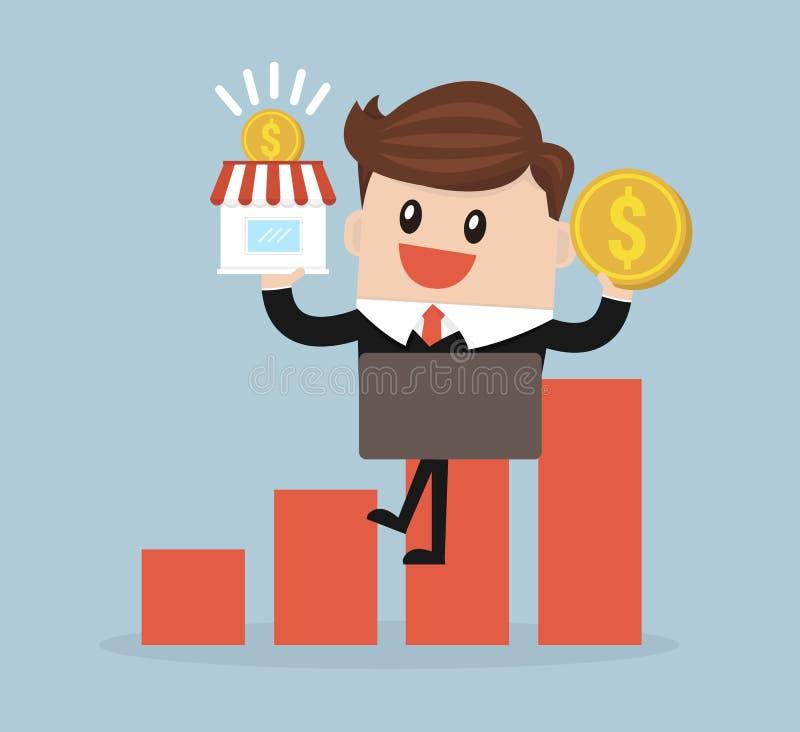 De winkel en het geldvector van de zakenmanholding royalty-vrije illustratie