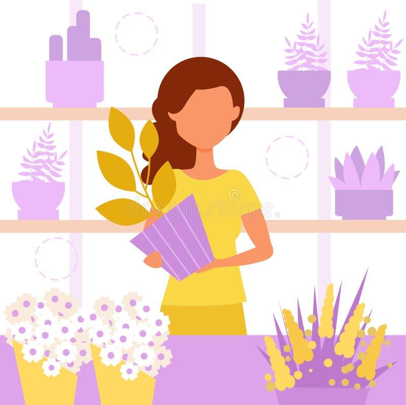 De winkel van de bloem saleswoman vector illustratie